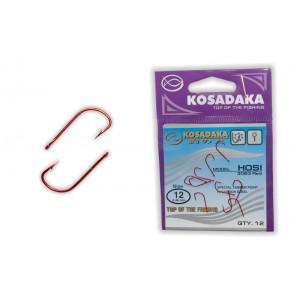 Крючки KOSADAKA Hosi 3063 (Nr.: 12, цв.: Red, в уп. 12 шт.)