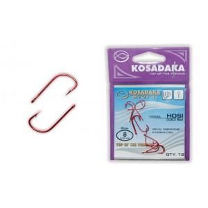 Крючки KOSADAKA Hosi 3063 (Nr.: 08, цв.: Red, в уп. 12 шт.)