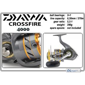 Катушка DAIWA CrossFire 4000 (подшип.:3, ёмкость шпули:0.300мм./ 270м., передача:5.3:1, вес:390г.)