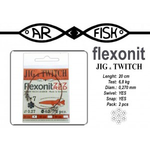 Поводок ARF Flexonite Jig-n-Twitch 7x7 R (длина.: 20 см, тест: 6.8 кг, диам.: 0.270мм, уп.: 2 шт)