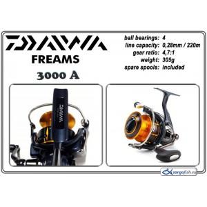 Катушка DAIWA Freams 3000A (подшип.:4, ёмкость шпули:0.280мм./ 220м., передача:4.7:1, вес:305г.) с запасной шпулей.