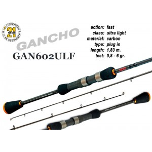Спиннинг Pontoon21 GANCHO 602 ULF (Секций:2, длина:1.83м, тест:0.8 - 6.0 гр.)