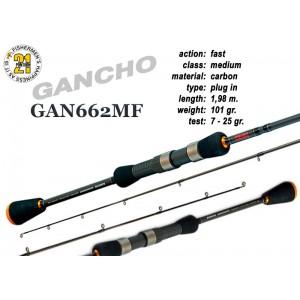 Спиннинг Pontoon21 GANCHO 662 MF (Секций:2, длина:1.98м, тест:7.0 - 25.0 гр.)