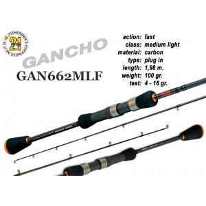 Спиннинг Pontoon21 GANCHO 662 MLF (Секций:2, длина:1.98м, тест:4.0 - 16.0 гр.)