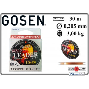 Леска GOSEN Aoriika Egi Fire Leader 020 (#1.50 / 0.205мм. / 30м. тест: 3.00кг., материал: FLUORO CARBON)