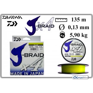 Плетеная леска DAIWA «J-BRAID» x4 yel - 0.13