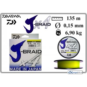 Плетеная леска DAIWA «J-BRAID» x4 yel - 0.15