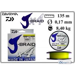 Плетеная леска DAIWA «J-BRAID» x4 yel - 0.17