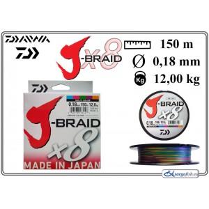 Плетеная леска DAIWA «J-BRAID» x8 mc - 0.18