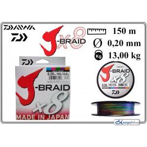 Плетеная леска DAIWA «J-BRAID» x8 mc - 0.20