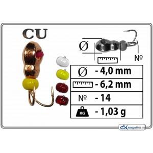 Мормышка КОЗА МУРАВЕЙ (диам.: 4.0мм., длина: 6.2мм., вес: 1.03г., крючек #14, c гранями, кембрик, бисер, цвет CU, в уп. 1 шт.)