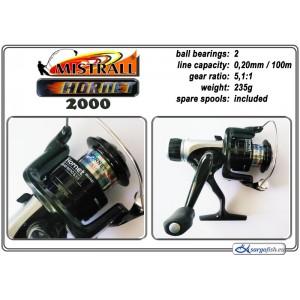 Катушка MISTRALL Hornet 2000 RD (подшип.:2, ёмкость шпули:0.200мм./ 100м., передача:5.1:1, вес:235г.) с запасной шпулей.