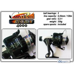 Катушка MISTRALL Hornet 4000 RD (подшип.:2, ёмкость шпули:0.350мм./ 120м., передача:5.5:1, вес:330г.) с запасной шпулей.