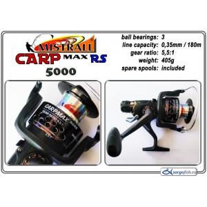 Катушка MISTRALL Carp Max 5000 RS (подшип.:3, ёмкость шпули:0.350мм./ 180м., передача:5.5:1, вес:405г.) с запасной шпулей.