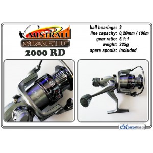 Катушка MISTRALL Magic 2000 RD (подшип.:2, ёмкость шпули:0.200мм./ 100м., передача:5.1:1, вес:225г.) с запасной шпулей.