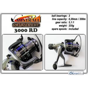 Катушка MISTRALL Magic 3000 RD (подшип.:2, ёмкость шпули:0.200мм./ 200м., передача:5.1:1, вес:235г.) с запасной шпулей.