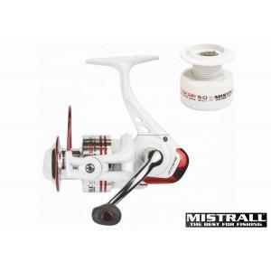 Катушка MISTRALL Odys 3000 FD (подшип.:5, ёмкость шпули:0.250мм./ 140м., передача:5.0:1, вес:305г.) с запасной шпулей.