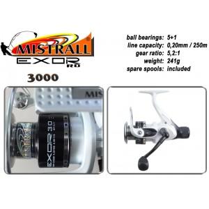 Катушка MISTRALL Exor 3000 RD (подшип.:5, ёмкость шпули:0.250мм./ 170м., передача:5.2:1, вес:241г.) с запасной шпулей.