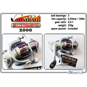 Катушка MISTRALL Ecospin 2000 (подшип.:3, ёмкость шпули:0.250мм./ 140м., передача:5.0:1, вес:235г.) с запасной шпулей.