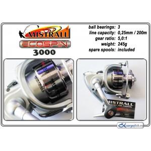 Катушка MISTRALL Ecospin 3000 (подшип.:3, ёмкость шпули:0.250мм./ 200м., передача:5.0:1, вес:245г.) с запасной шпулей.