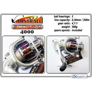Катушка MISTRALL Ecospin 4000 (подшип.:3, ёмкость шпули:0.300мм./ 200м., передача:4.7:1, вес:288г.) с запасной шпулей.