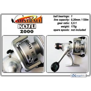 Катушка MISTRALL Kosu 2000 RD (подшип.:1, ёмкость шпули:0.200мм./ 130м., передача:5.5:1, вес:175г.)