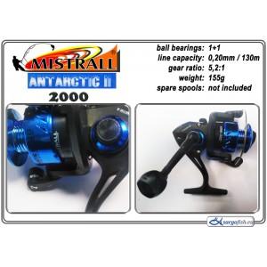 Катушка MISTRALL Antarctic II 2000 (подшип.:1, ёмкость шпули:0.200мм./ 130м., передача:5.2:1, вес:155г.)