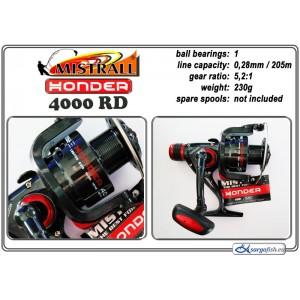 Катушка MISTRALL Honder 4000 RD (подшип.:1, ёмкость шпули:0.280мм./ 205м., передача:5.2:1, вес:230г.)