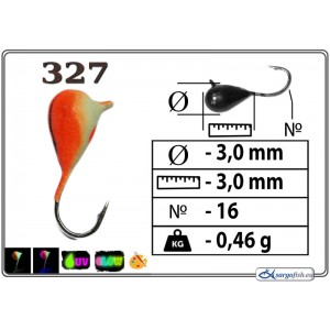 Мормышка КАПЛЯ (диам.: 3.0мм., длина: 4.3мм., вес: 0.46г., крючек #16, с ушком, цвет 327+Ph+UV, в уп. 1 шт.)