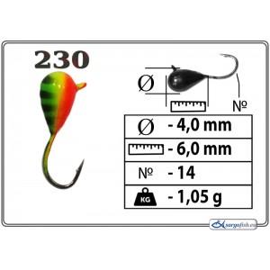 Мормышка КАПЛЯ (диам.: 4.0мм., длина: 6.0мм., вес: 1.05г., крючек #14, с ушком, цвет 230, в уп. 1 шт.)