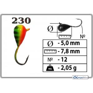 Мормышка КАПЛЯ (диам.: 5.0мм., длина: 7.8мм., вес: 2.05г., крючек #12, с ушком, цвет 230, в уп. 1 шт.)
