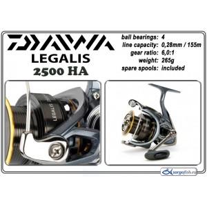 Катушка DAIWA Legalis 2500HA (подшип.:4, ёмкость шпули:0.280мм./ 155м., передача:6.0:1, вес:265г.) с запасной шпулей.