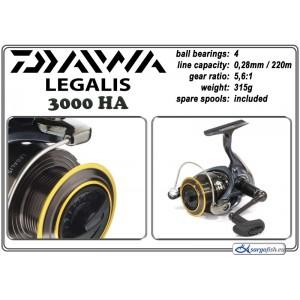 Катушка DAIWA Legalis 3000HA (подшип.:4, ёмкость шпули:0.280мм./ 220м., передача:5.6:1, вес:315г.) с запасной шпулей.