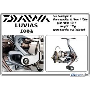 Катушка DAIWA Luvias 1003 (подшип.:8, ёмкость шпули:0.140мм./ 100м., передача:4.8:1, вес:175г.)