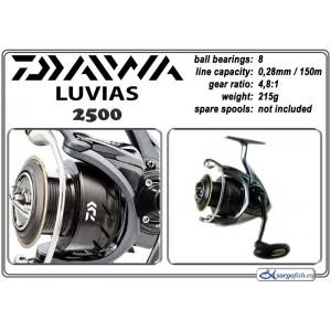 Катушка DAIWA Luvias 2500 (подшип.:8, ёмкость шпули:0.280мм./ 150м., передача:4.8:1, вес:215г.)