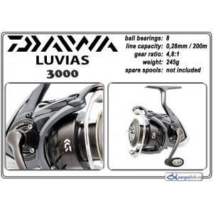 Катушка DAIWA Luvias 3000 (подшип.:8, ёмкость шпули:0.280мм./ 200м., передача:4.8:1, вес:245г.)