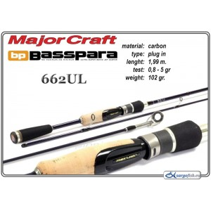 Спиннинг Major Craft BP BASSPARA 662UL (Секций:2, длина:2,01м, тест:0,9 - 5,3 гр.)