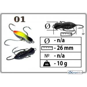 Мормышка СТРЕКОЗА (длина: 26.0мм., вес: 10.0г., с ушком, цвет 001, в уп. 1 шт.)