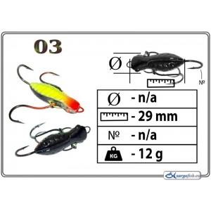 Мормышка СТРЕКОЗА (длина: 29.0мм., вес: 12.0г., с ушком, цвет 003, в уп. 1 шт.)