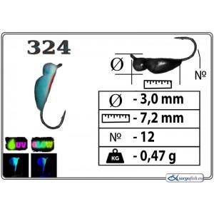 Мормышка ЖУК (диам.: 3.0мм., длина: 7.2мм., вес: 0.47г., крючек #12, с ушком, цвет 324+Ph+UV, в уп. 1 шт.)