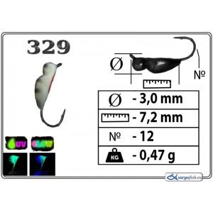 Мормышка ЖУК (диам.: 3.0мм., длина: 7.2мм., вес: 0.47г., крючек #12, с ушком, цвет 329+Ph+UV, в уп. 1 шт.)