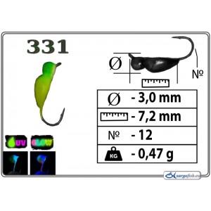 Мормышка ЖУК (диам.: 3.0мм., длина: 7.2мм., вес: 0.47г., крючек #12, с ушком, цвет 331+Ph+UV, в уп. 1 шт.)