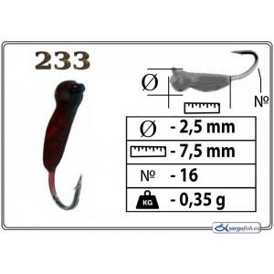 Мормышка ОСА (диам.: 2.5мм., длина: 7.5мм., вес: 0.35г., крючек #16, с ушком, цвет 233, в уп. 1 шт.)