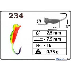 Мормышка ОСА (диам.: 2.5мм., длина: 7.5мм., вес: 0.35г., крючек #16, с ушком, цвет 234, в уп. 1 шт.)