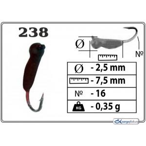 Мормышка ОСА (диам.: 2.5мм., длина: 7.5мм., вес: 0.35г., крючек #16, с ушком, цвет 238, в уп. 1 шт.)