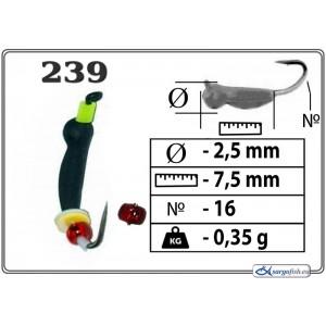 Мормышка ОСА (диам.: 2.5мм., длина: 7.5мм., вес: 0.35г., крючек #16, с ушком и бисером, цвет 239, в уп. 1 шт.)