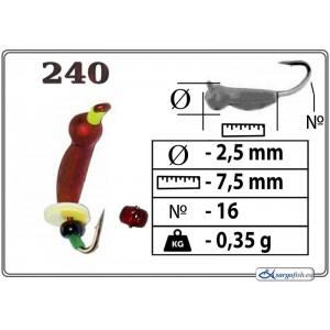 Мормышка ОСА (диам.: 2.5мм., длина: 7.5мм., вес: 0.35г., крючек #16, с ушком и бисером, цвет 240, в уп. 1 шт.)