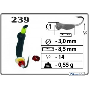 Мормышка ОСА (диам.: 3.0мм., длина: 8.5мм., вес: 0.55г., крючек #14, с ушком и бисером, цвет 239, в уп. 1 шт.)
