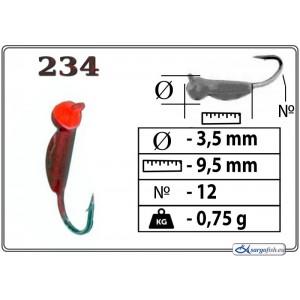 Мормышка ОСА (диам.: 3.5мм., длина: 9.5мм., вес: 0.75г., крючек #12, с ушком, цвет 234, в уп. 1 шт.)