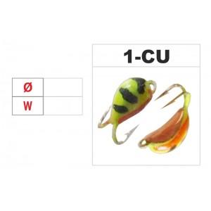 Мормышка КАЗА 2 (диам.: 3.0мм., длина: 7.0мм., вес: 0.64г., с ушком, цвет CU, в уп. 1 шт.)